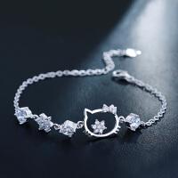 茵曼首饰 925银手链女 仿真钻石可爱元气日韩时尚百搭送女友 猫咪公主3412 白色
