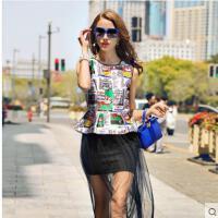 卡通个性时尚图案收腰长裙拼接网纱无袖圆领气质修身显瘦背心连衣裙