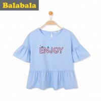 巴拉巴拉童装女童短袖衬衫中大童半袖上衣2017夏季新款衬衣女