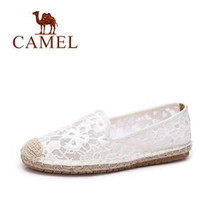 Camel/骆驼女鞋 2017春夏新款 蕾丝透气平底鞋 小香风乐福鞋