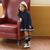 【两件六折,三件五折】春秋季中大女童装全棉洗水学生连衣裙韩版