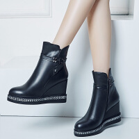 娜箐箐冬新款头层牛皮圆头坡跟防水台短靴真皮马丁靴高跟女靴