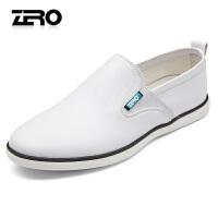 Zero零度男士休闲鞋春夏新款真皮乐福鞋小白鞋驾车鞋懒人鞋一脚蹬R71048