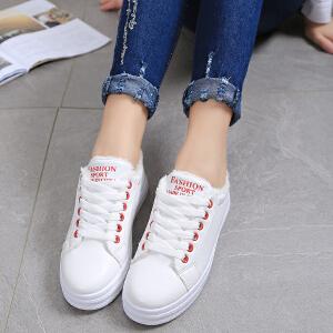 冬季新款韩版百搭板鞋女低帮系带小白鞋加绒保暖休闲鞋厚底简约拼色平底鞋