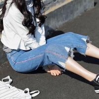 韩版学生直筒宽松九分阔腿裤bf风显瘦休闲牛仔裤