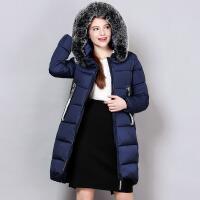 冬季中长款修身显瘦女士百搭纯色拉链连帽棉衣外套