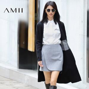 【AMII超级大牌日】[极简主义]2017年春新品拼接撞色中长款毛衣开衫外套女11682407