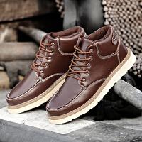 货到付款 欧洲先生马丁靴男英伦工装靴短筒男士雪地靴冬季加绒男鞋高帮棉鞋