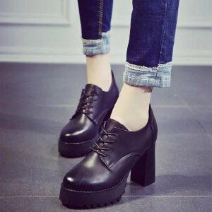 妃枫霏 欧美时尚短靴防水台百搭系带粗跟靴子耐磨黑色尖头高跟鞋短筒