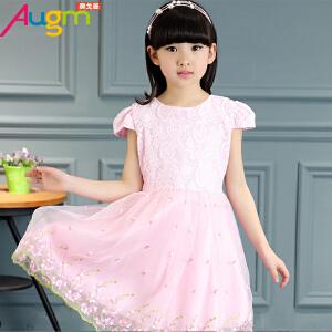 奥戈曼 2017童装女童夏装连衣裙儿童蕾丝短袖公主裙中大童小女孩纯色裙子