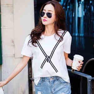 夏季女装上衣t恤韩版宽松时尚新款休闲短袖体恤女外穿小衫半袖潮ZY3852
