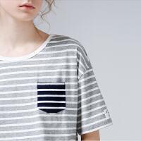 初语夏装新款 条纹撞色圆领短袖宽松大码棉质T恤女休闲百搭上衣