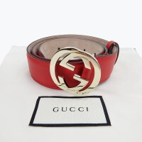 Gucci古驰女士红色皮带双G板扣腰带3.7cm 370543 AP00G 红色 95码