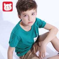 小猪班纳童装男童短袖T恤2017夏装中大童圆领半袖打底衫男孩上衣