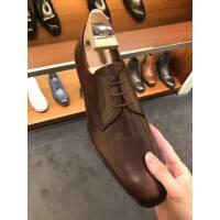PRADA棕色全皮男士皮鞋