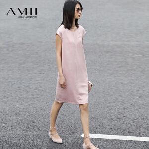 Amii[极简主义]2017夏新大码休闲圆领盖袖扣针宽松连衣裙11760683