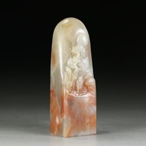 巧色老挝冻石   精雕指日高升大材印章 jd2562