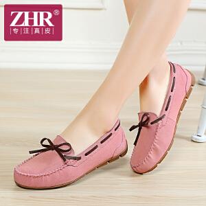 ZHR2017春季新款韩版圆头平底女鞋浅口蝴蝶结单鞋休闲鞋豆豆鞋AB02