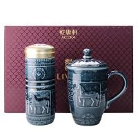 台湾乾唐轩活瓷杯  正品  梅花鎏金随身杯 双层保温杯 创意陶瓷女士随手杯 水杯 杯子