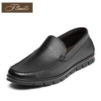 宾度男鞋新品商务休闲鞋套脚男士平底鞋爸爸鞋头层牛皮鞋子