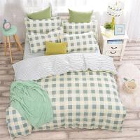 御目 床上用品 夏季韩版简约床单四件套学生宿舍三件被套被单四季通用被罩床单枕套家居用品