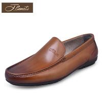 宾度春季男士休闲鞋男士商务皮鞋子套脚驾车鞋擦色皮潮鞋