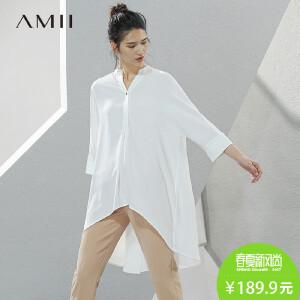 Amii[极简主义]2017春新宽松前短后长八分袖长款雪纺衫11780412