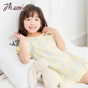 顶瓜瓜儿童睡裙夏季 女童短袖碎花纯棉印花小清新家居睡裙