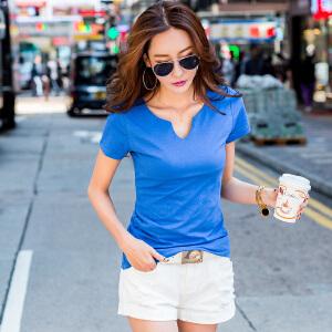 2017夏季短袖t恤女韩版女装上衣纯棉体恤打底衫纯色半袖小V短袖女ZY3851