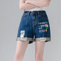 初语 2017年夏季新款学生牛仔短裤女热裤夏宽松阔腿裤破洞牛仔裤