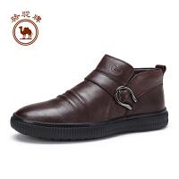 骆驼牌男靴子  冬季舒适男皮靴耐磨拉链保暖休闲鞋男鞋