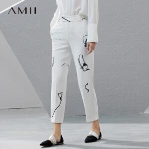 Amii2017春女直筒印花九分大码西装休闲裤11790305