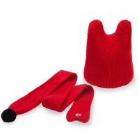 婴儿秋冬可爱保暖男童女童儿童毛线帽子围巾两件套套装