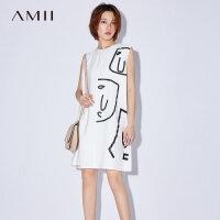 Amii[极简主义]2017夏装新款大码无袖休闲个性印花连衣裙11772005