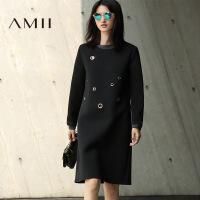 【AMII超级大牌日】[极简主义]2016冬新大码几何金属装饰撞色时尚连衣裙11674077