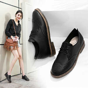 ZHR2017春季新款英伦风女鞋平底粗跟单鞋黑色休闲鞋复古小皮鞋Q11
