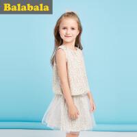 巴拉巴拉儿童短袖套装女2017夏新款中大童女童两件套半袖休闲