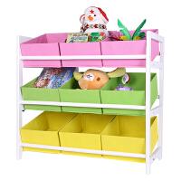 捷�N 儿童玩具收纳架玩具架收纳柜玩具收纳箱幼儿园超大书架收纳架 三层九格