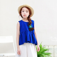 韩国女童上衣夏装新品童装中大童背心露背短袖亲子装