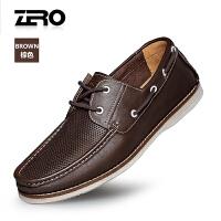 Zero零度皮鞋 男夏季新款休闲皮鞋系带透气凉皮鞋英伦镂空皮鞋潮R72078