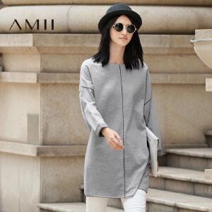 【AMII超级大牌日】[极简主义]2017年春新款落肩提花针织拼接大码中长款T恤上衣女