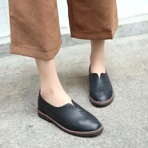 ZHR2017春季新款英伦风女鞋粗跟单鞋复古平底休闲鞋黑色小皮鞋女Q10