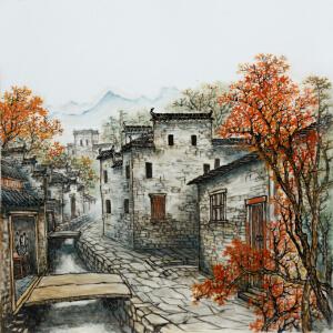 中国著名山水画名家 蒋佩华 釉上彩瓷板《秋韵》