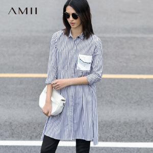 Amii[极简主义]2017春女新纯棉印花海军风条纹中长款衬衫11791166