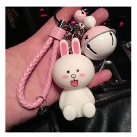 布朗熊钥匙扣链圈环绳女 韩国可爱创意铃铛男情侣汽车钥匙挂件