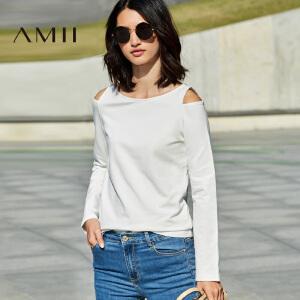 【预售】Amii2017春新女大码时尚显瘦圆领露肩个性T恤11740917