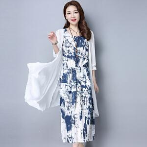 波柏龙 2017春装棉麻大码连衣裙两件套文艺民族风裙