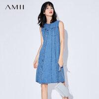 Amii[极简主义]2017夏装新款大码无袖牛仔拼接开襟连衣裙11783222