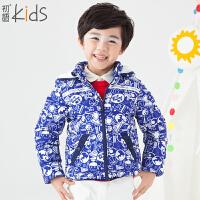 初语童装 冬季新款 男童羽绒服 长袖百搭加厚儿童羽绒服外套 T5309320031