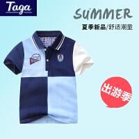 【满200-100】TAGA童装 男童短袖T恤2017夏季新款中大童夏装POLO衫休闲儿童上衣